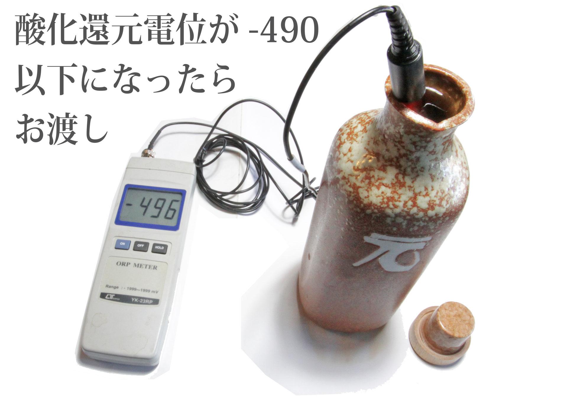 還元くんに酸化還元電位計が入り水素が発生している数値が写った写真